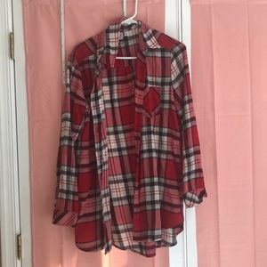 Red black and white plaid flannel